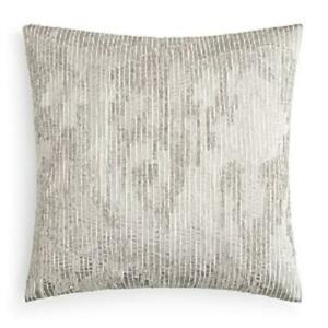 Hudson Park Collection Embroidered Texture Decorative Pillow Grey 18 x 18