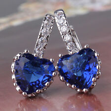 18K White Gold F Heart Earrings Made With Royal Blue Swarovski Crystals Bridal