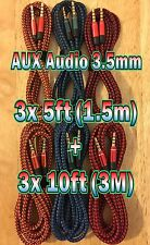 6x LOT 3.5mm (3x 5ft + 3x 10ft) AUXILIARY CORD Male to Male Audio Cable AUX MIX