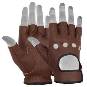 MRX Mens Leather Fingerless Driving Motorcycle Biker Gloves Cycling Biking Pair