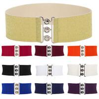 GK Womens Trendy Buckle Elastic Waist Belt Wide Stretch Corset Waistband S~3XL