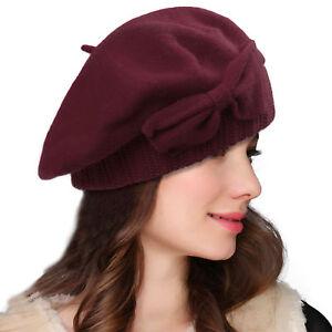 Women Wool Bow Loretta Beret Nipple  Beanie Basque French Artist Dress Cap A481