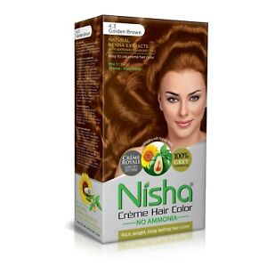 Nisha Creme Hair Color 4.3 GOLDEN BROWN (Conditioner with Natural Herbs)