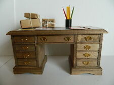 (HP23) DOLLS HOUSE WOODEN NINE DRAWER DESK WITH ACCESSORIES