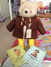 Vintage Gabrielle Paddington Bear Brown Duffle Yellow Wellington Boots 2x Books