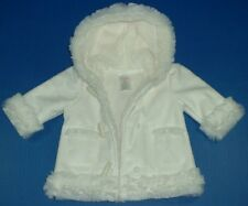 Gymboree Forest Sprouts Girls White Holiday Faux Fur Trim Sherpa Hoodie 0-3M