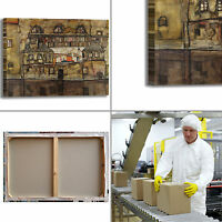 Schiele muro di casa sul fiume quadro stampa tela dipinto telaio arredo casa