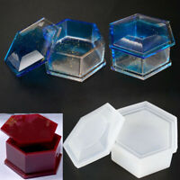 1PC Craft Jewelry Hexagon Box Silicone Mold Making Resin Casting Storage Tools
