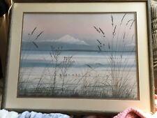 "Vintage '80s Art Print Shore Birds Jeanne Duffey 14x17"" Print Matted Framed"