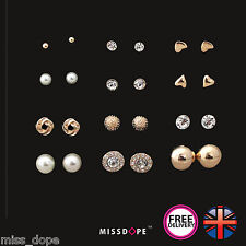 NEW 12 PAIRS GOLD EARRINGS SET BALL CRYSTAL STUD WOMENS LADIES HEART PEARL BOHO