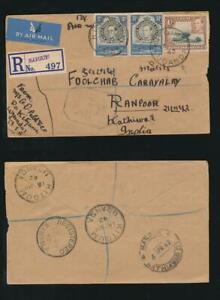 UGANDA 1942 AIRMAIL CENSORED to INDIA REGISTERED KITGUM