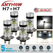 Combo H7 + H7 LED High Low Beam Headlight Kit Fog Bulbs 240W 52000LM 6000K White