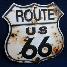 ROUTE 66 Rusty Shield - *US MADE* Embossed Metal Tin Sign - Man Cave Garage Bar
