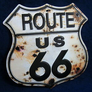 ROUTE 66 Rusty Shield -*US MADE* Embossed Metal Sign - Man Cave Garage Bar Decor