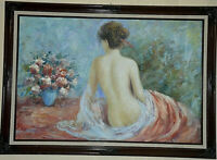 "Nude Girl painting by R. Young Oil on Canvas Signed 24""x 36"" Framed"