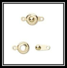 Clasp, button, gold-plated brass, 7.5mm round, 31 ea in pkg