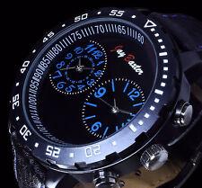 Jay Baxter Herren Uhr Armbanduhr Schwarz Blau Leder Dualtimer 2 Uhrwerke