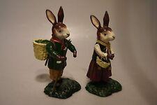 2 Hasen-Hasenpaar aus Gußeisen mit Korb