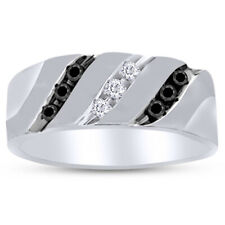 0.24 Ct Black & White Diamond 10K White Gold For Men's Band Ring