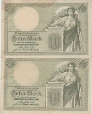 More details for two consecutive p9b german 10 mark 1906 banknotes near extremely fine condition.