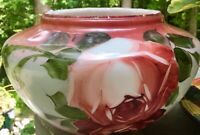 Beautiful Antique Glass GWTW Parlor Lamp Part Font Globe Base Painted Roses