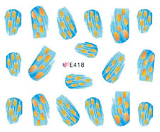 Nail Art Sticker Water Decals Transfers Blue Yellow Feathers (E418)