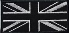 BRITISH FLAG UNION JACK MONO BLACK AND WHITE Embroidered Iron Sew On Patch Fancy
