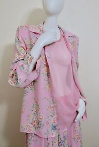 Vintage Leslie Fay Two Piece Skirt Shirt Set Dress Sheer Pink Layered Camisole L