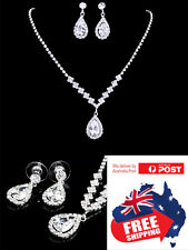 Wedding Jewellery Set Heart Elegant CZ Crystal Drop Necklace and Earrings 1 set