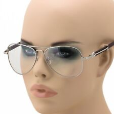 Mens Women Pilot Clear Lens Fashion Eye Glasses Retro RX Nerd Wood Frame Hipster