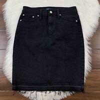 J Crew Women's Size 26 Black Denim Jean Pencil Skirt Released Hem J8335