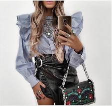 Zara Blue Striped Poplin Blouse Size SMALL BNWT