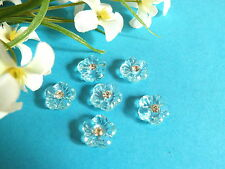 "403B/Charming Small Buttons "" Azure "" Sky Blue Heart Of Rhinestone"