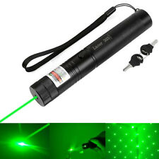 Military Green Laser Pointer 1mW 532NM Lazer Pen Lamp Beam Burning Zoom Star Cap
