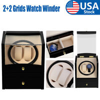 Automatic Rotating 2+2 Wood Watch Winder Wristwatch Display Box Storage Case US