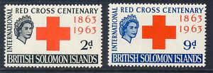 BRITISH SOLOMON ISLANDS 1963 RED CROSS CENTENARY SG101/102 BLOCKS OF 4 MNH