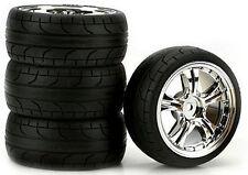 Stinger Chrome 2mm Offset, ST Radial (4) RC Touring Car Wheels/Tire Set 1/10