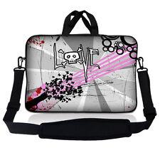 "17.3"" 17.4 Laptop Sleeve Bag Case Pouch w Handle & Shoulder Strap Love Skull"