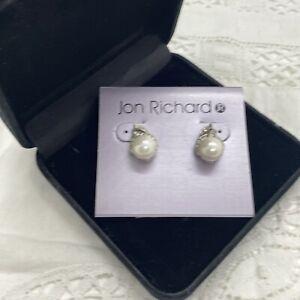 JON RICHARD Sparkly Faux Pearl Earrings Pierced Retro Kitsch Silver Tone NWT