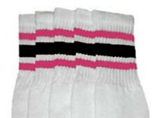 "25"" KNEE HIGH WHITE tube socks with BUBBLEGUM PINK/BLACK stripes style 3 (25-19)"