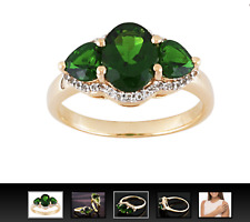 2.10ctw Chrome Diopside with .18ctw White Topaz 18k Gold over Silver Ring 10