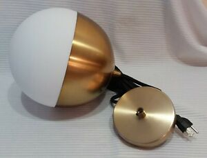 Project 62 Pendant Lamp Brass with Frosted Globe 9 3/4 Inches New in Opened Box.