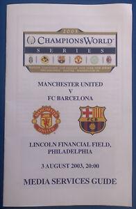 2003 Champions World Series Media Guide Manchester United V Barcelona USA Tour