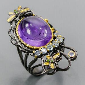 Fine Art SET Amethyst Ring Silver 925 Sterling  Size 8 /R159286
