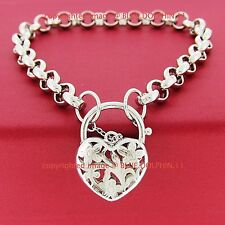 Real Solid 14k White Gold GF Bolt Ring Chain Heart Clasp Padlock Bracelet Bangle
