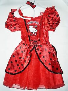 Hello Kitty Kostüm Fasching, Kleid rot schwarz Marienkäfer  Haarreif 98-128  NEU