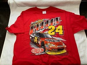 Jeff Gordon NASCAR Racing T Shirt XL Dupont Double Sided #24 2009 Red Never Worn