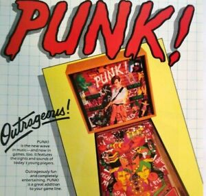 Gottlieb Punk Pinball FLYER Original Rock Music Theme Art Print Sheet New Wave