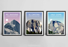 Yosemite National Park Set Of 3 Art Prints - El Capitan,Half Dome,Mount Watkins