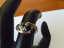 Signed ALWAND VAHAN~Blue Sapphire & Diamonds 14k Yellow Gold, 925 Silver Ring